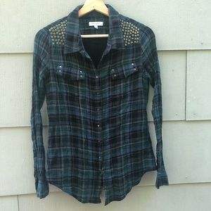 Equipment plaid and studded button down